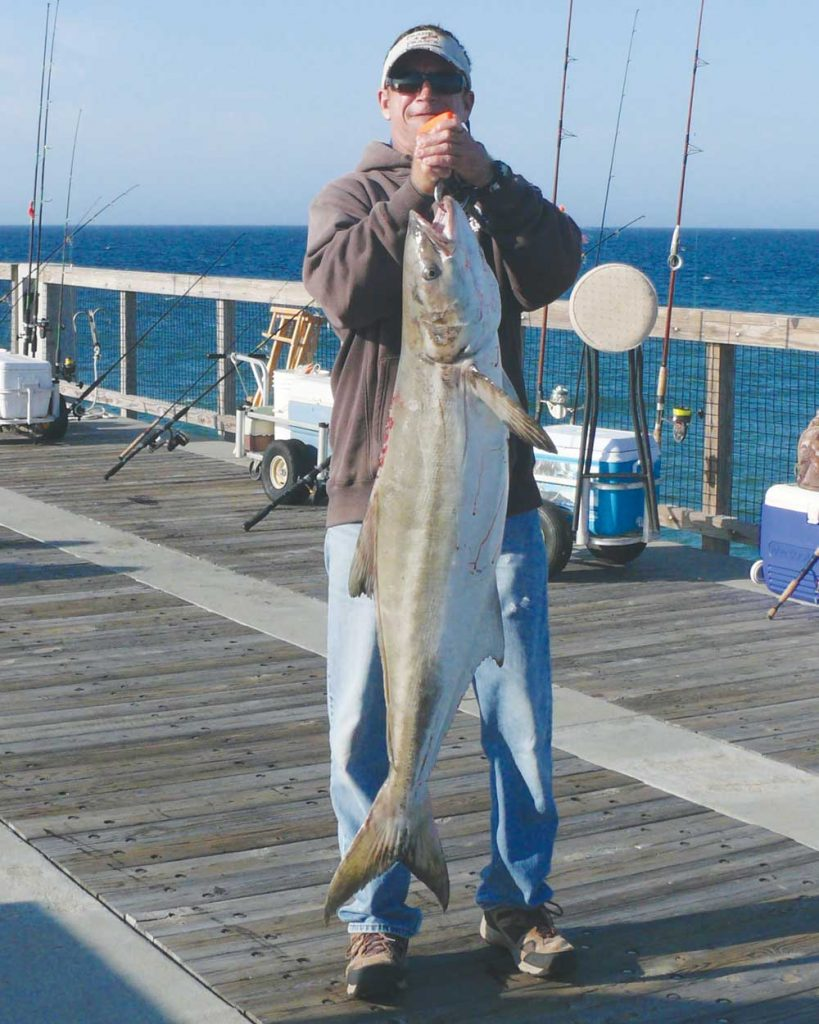 Holding up a prized catch while cobia fishing.
