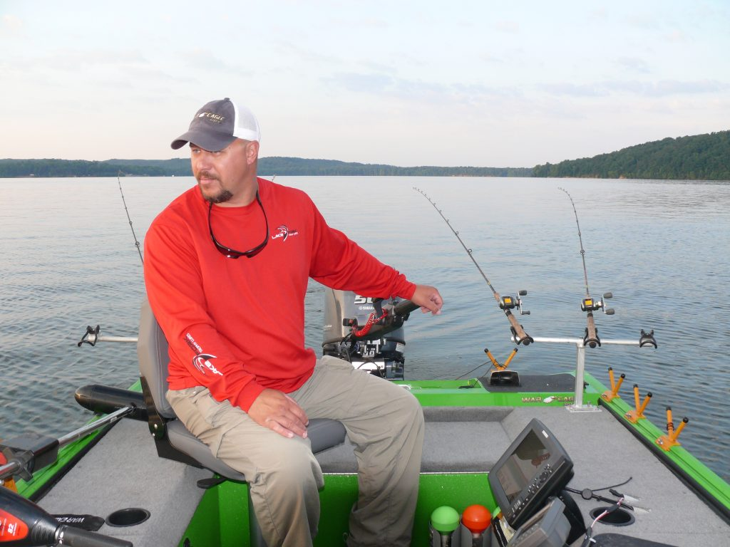 Keep the boat on line while trolling for crappie