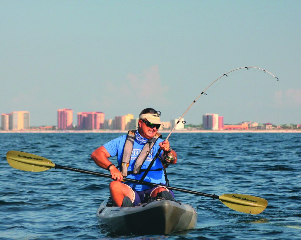 kayak anglers who launch their lightweight boats off the beaches on the Alabama coast can expect to meet up with some big, strong fish. Just what kind of fish a kayaker might encounter depends on the time of year.