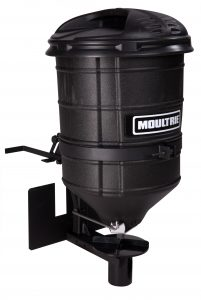This ATV hunting accessory features a durable, tapered plastic hopper with a 100-pound capacity.