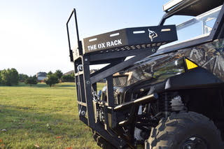 The Ox Rack is the first all-in-one front rack basket and loader that attaches to your UTV.