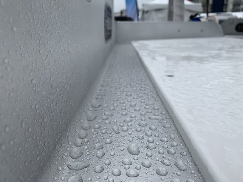 SystemX Marine Ceramic Coating on a fish cleaning table