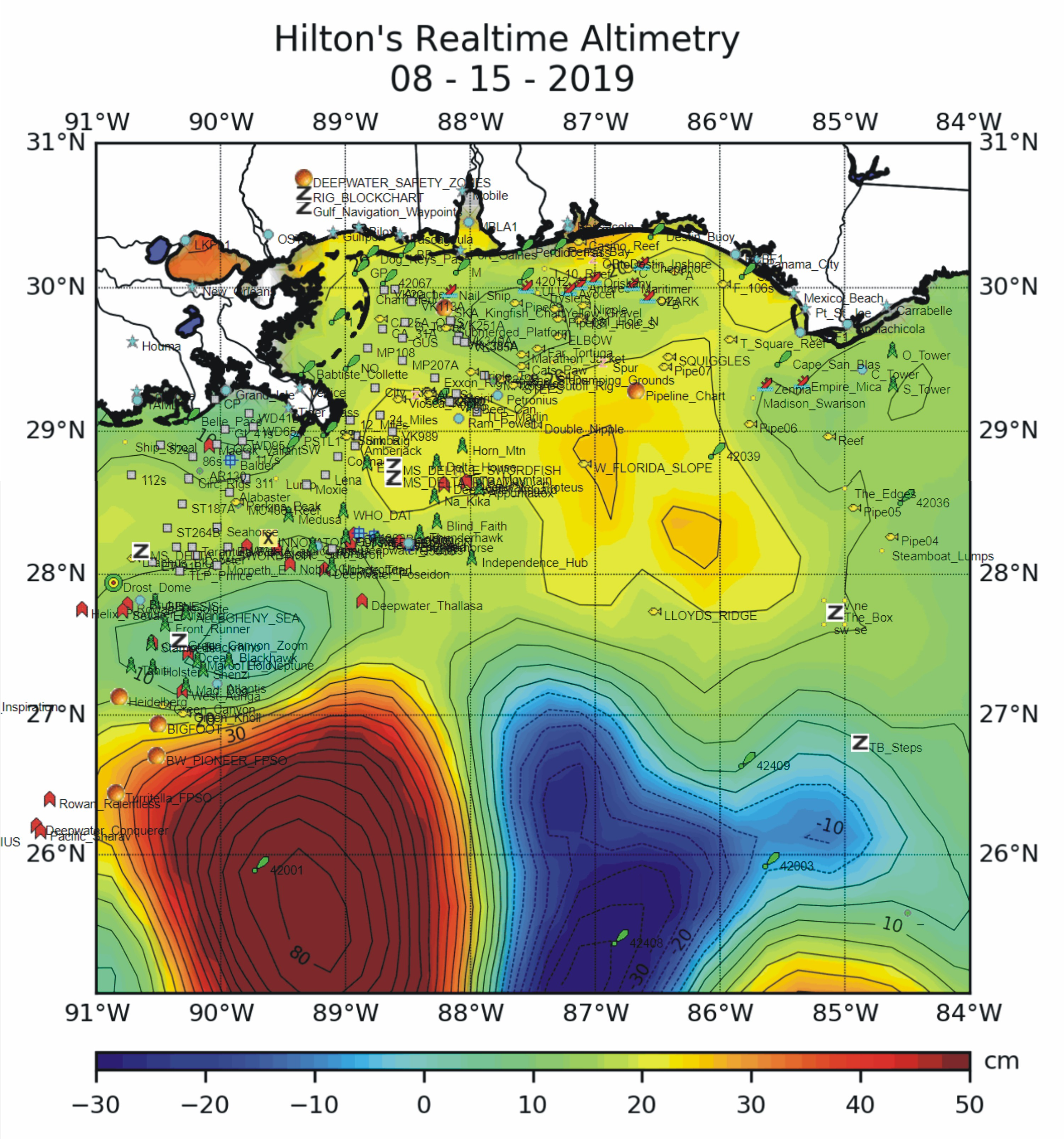 satellite altimetry charts, what is upwelling
