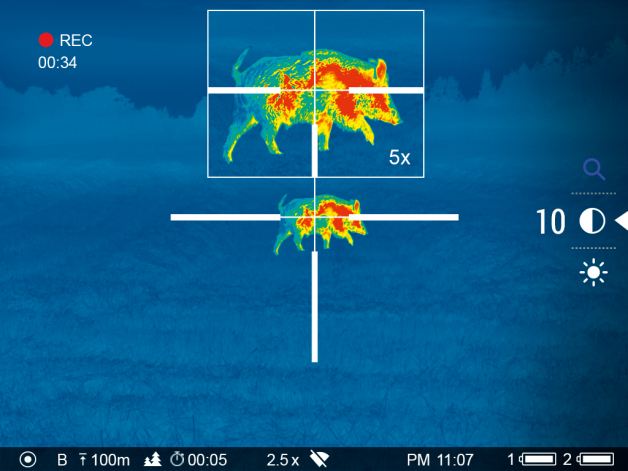 Thermal imaging scope technology, like most other technology, has progressed at a rapid pace. Picture-in-picture displays a magnified image at the top-center 10% of the overall field of view for precise shot placement.
