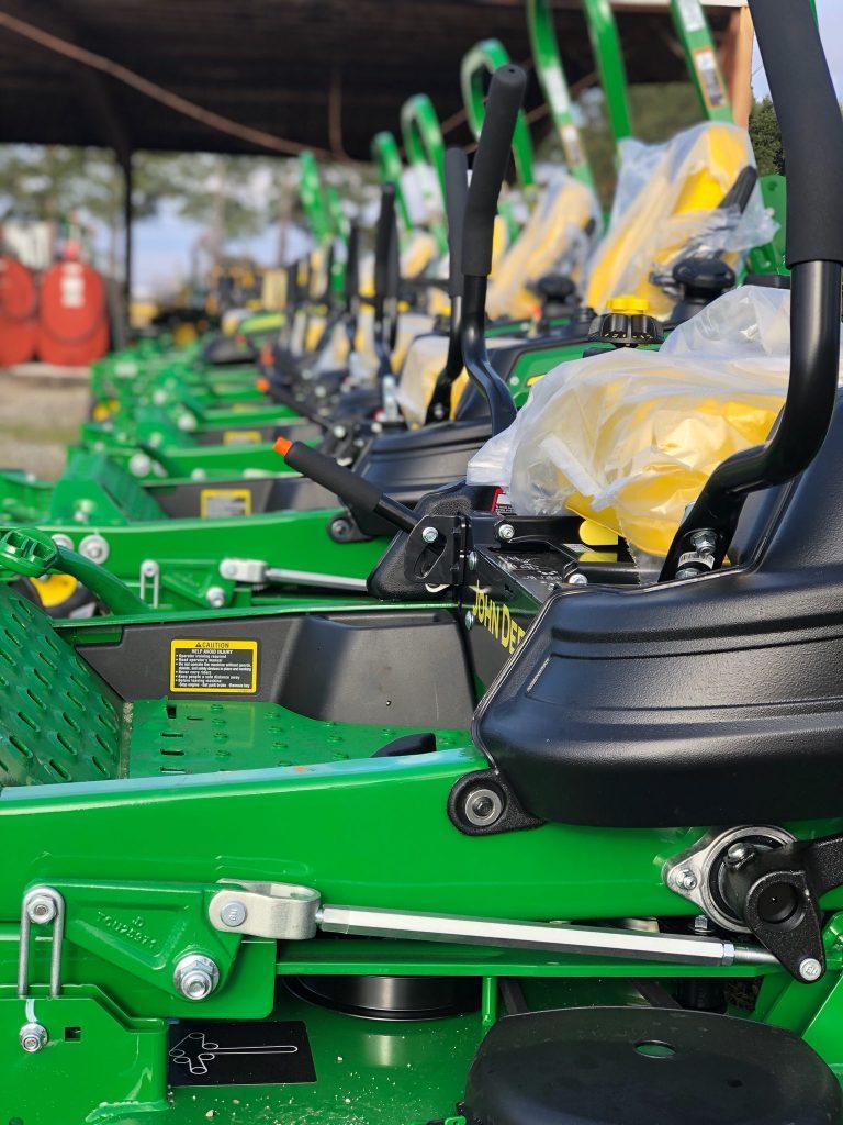 line up of tractors
