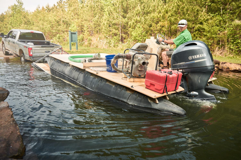 pond liming boat