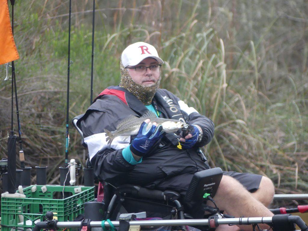 kayak fisherman in shorts