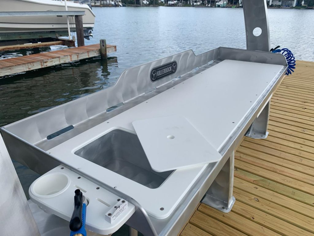 cool boat dock cleaning table